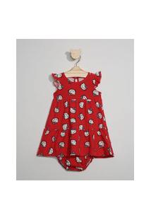 Vestido Infantil Amplo Estampado Hello Kitty Manga Curta + Calcinha Vermelho