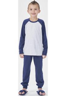 Pijama Manga Longa Azul Marinho E Mescla