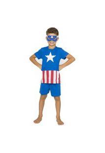 Pijama Infantil Menino Capitão América Com Máscara 048 Azul
