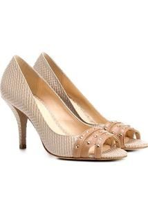 Peep Toe Couro Shoestock Salto Fino Cobra - Feminino