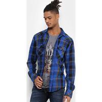 Camisa Xadrez Colcci Manga Longa Masculina - Masculino-Azul 220fe0e80a379