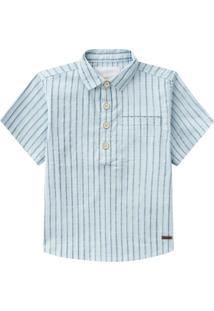 Camisa Manga Curta Listrada Milon Azul