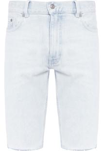 Bermuda Masculina Slim Bleach Wash Denim - Azul