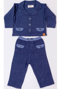 Conjunto Mini Lord - Valentin Menino Bebê - Azul Jeans