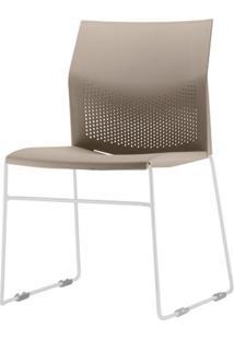 Cadeira Connect Assento Bege Base Fixa Cinza - 53764 - Sun House