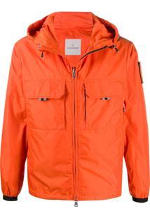 Moncler Patch Drawstring Hood Jacket - Laranja