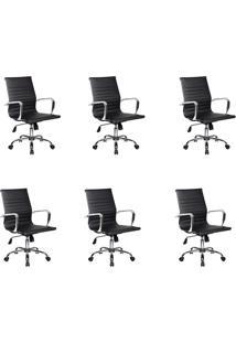 Conjunto Com 6 Cadeiras De Escritório Diretor Giratórias Eames Best Preto