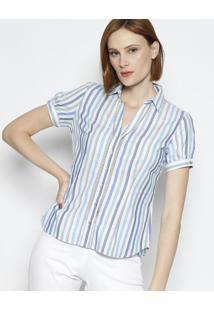 Camisa Listrada Com Entremeios- Off White   Azul- Vivip Reserva 83630304a7
