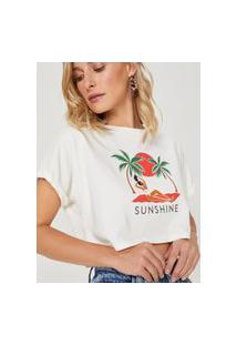 Amaro Feminino T-Shirt Cropped Ampla Sunshine, Off-White