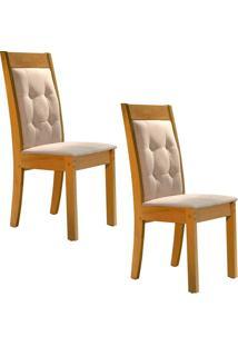 Conjunto Com 2 Cadeiras Rubi Ypê E Cru
