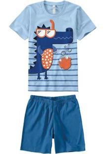 Pijama Azul Jacaré Em Malha Essence Menino
