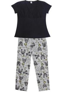 Pijama Gestante Plus Size Manga Curta Luna Cuore Feminino - Feminino