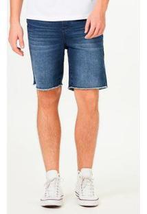 Bermuda Jeans Hering Moletom Slim Amarração Masculina - Masculino-Azul