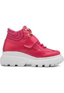 Sneaker Rock Fit York Plataforma Couro Rosa