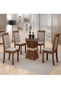 Conjunto De Mesa De Jantar Vitória Com 4 Cadeiras Rubi Suede Chocolate E Cinza