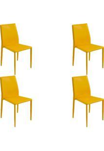 Kit 4 Cadeiras Decorativas Sala E Cozinha Karma Pvc Amarela - Gran Belo - Amarelo - Dafiti