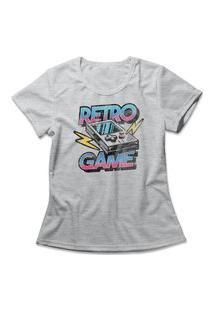 Camiseta Feminina Retro Game Cinza