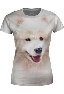 Camiseta Baby Look Husky Siberiano Over Fame Cinza