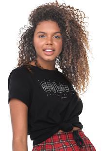 Camiseta Colcci Lettering Preta - Preto - Feminino - Algodã£O - Dafiti