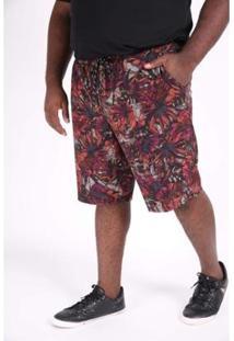 Bermuda Kauê Plus Size Tactel Estampado Masculina - Masculino-Marrom