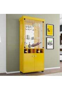 Cristaleira Monza Móveis Bechara Amarelo