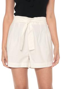 Short Sarja Mercatto Amarração Off-White