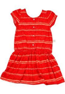 Vestido Infantil Malha Estampada Listrada Strass - Vermelho 3