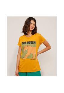 Camiseta De Algodão Tal Mãe Tal Filho Nala O Rei Leão Manga Curta Gola Careca Mostarda