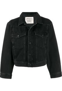 Diesel Jaqueta Jeans Cropped - Preto