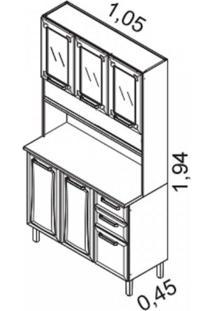 Armário De Cozinha 6 Portas 3 De Vidro 2 Gavetas Regina Itatiaia Branco/Preto