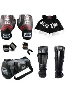 Kit Muay Thai Fheras Top Luva Bandagem Caneleira Bucal Shorts Bolsa 08 Oz Iron - Unissex