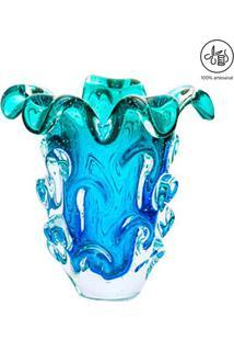 Vaso Texturizado- Azul & Verde Água- 33X25X28Cm-Cristais São Marcos