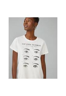Amaro Feminino T-Shirt Básica Cat Eyes Tutorial, Off-White