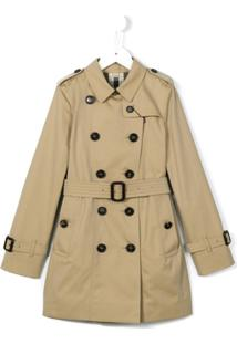 Burberry Kids Trench Coat Com Cinto - Neutro