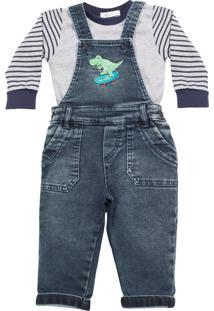 Jardineira Anuska Dinossauro Jeans