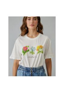 Amaro Feminino T-Shirt Blur Flowers, Off-White