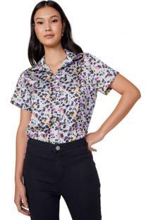 Amaro Feminino Camisa Manga Curta Acetinada, Flower Skin