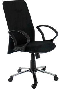 Cadeira De Escritório Diretor Cora Suede Cromada E Preto