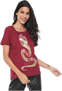 Camiseta Colcci Estampada Bordô