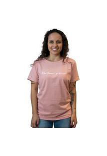 Camiseta Feminina Edu Ribeiro Lettering Só Sorrir - Salmão E Branca Multicolorido