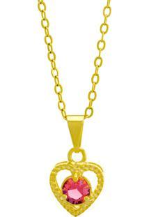Gargantilha Horus Import Ponto Luz Coração Rosa Banhada Ouro Amarelo 18 K - 1061129