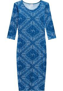 Vestido Lecimar Em Viscose Com Elastano Outono Inverno Manga Longa Azul