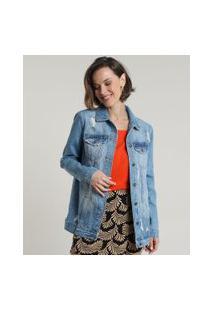 Jaqueta Jeans Feminina Longa Com Rasgos E Bolsos Azul Claro