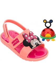Sandália Infantil Grendene Mickey E Minnie (Com Brinde)