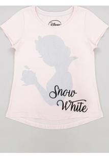 Blusa Infantil Princesas Branca De Neve Com Glitter Manga Curta Decote Redondo Rosê