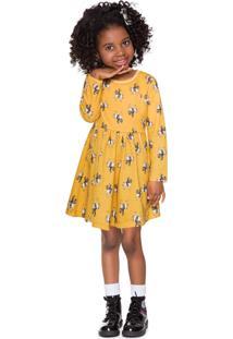 Vestido Estampado Manga Longa Milon Amarelo