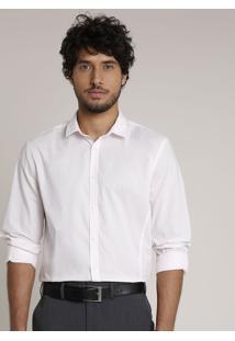 Camisa Masculina Slim Com Vivo Contrastante Manga Longa Rosa Claro