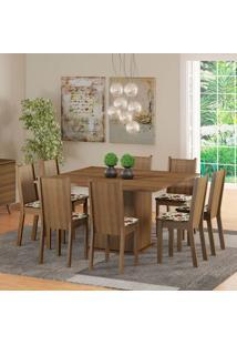Conjunto De Mesa Com 8 Cadeiras Clarice Rustic E Floral Hibiscos