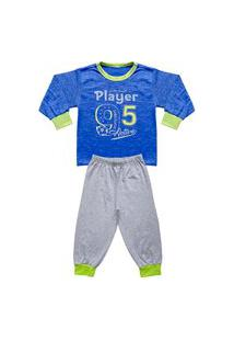 Pijama Infantil Look Jeans Longo Player Azul/Mescla