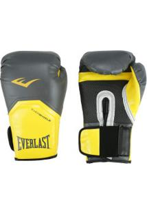Luvas De Boxe Everlast Pro Style Elite 14 Oz - Cinza Escuro/Amarelo